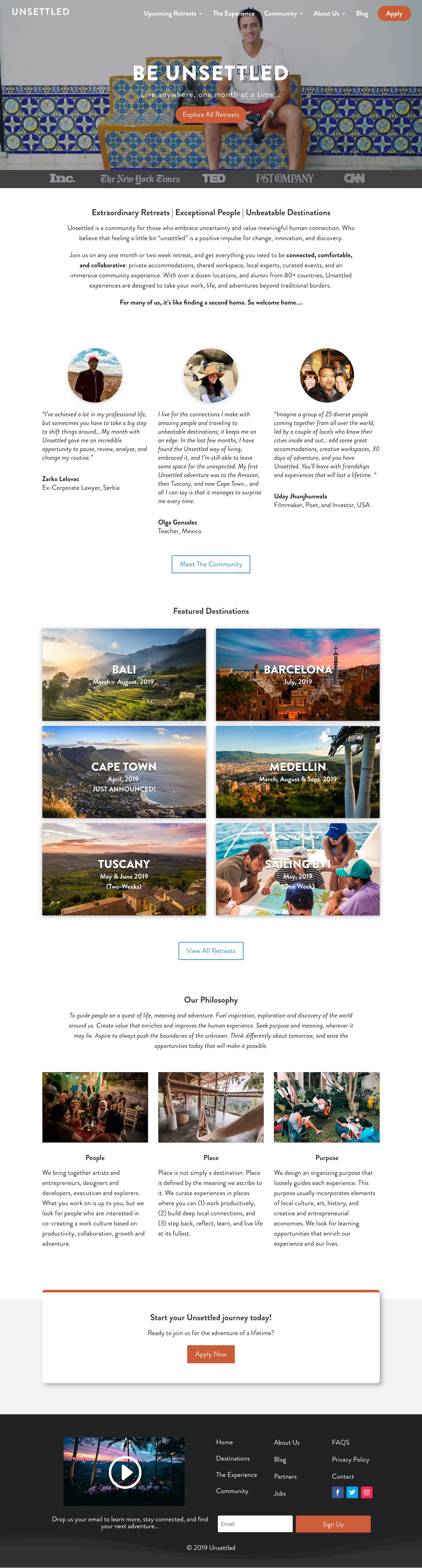 Unsettled home page design