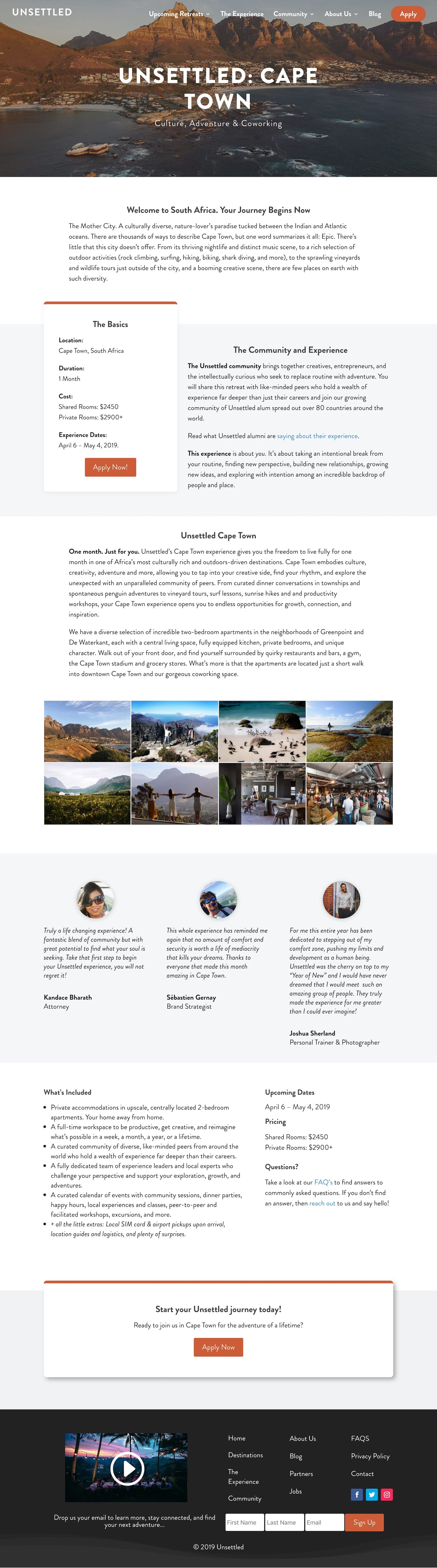Unsettled Cape Town retreat page showcasing co-working and co-living retreats for community