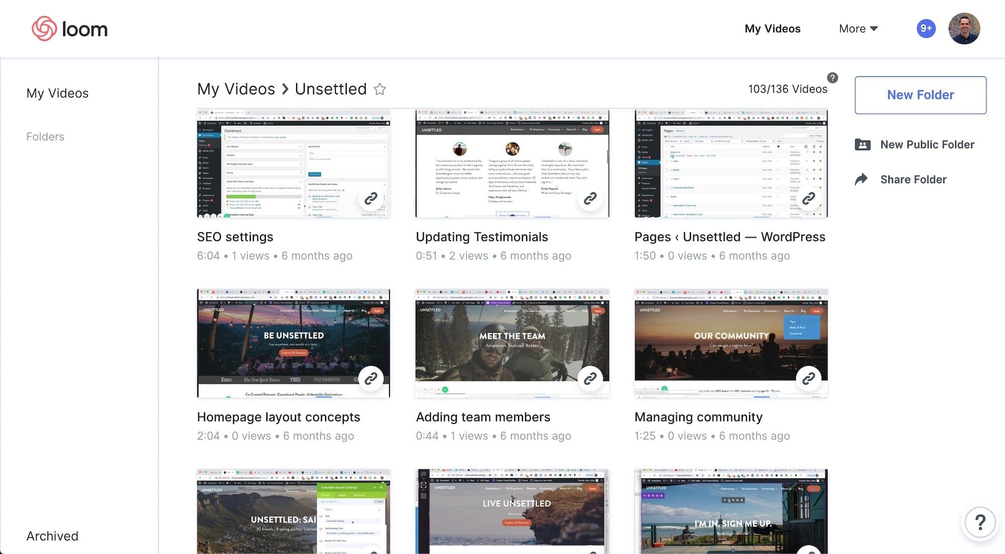 Video tutorials and project management screenshots