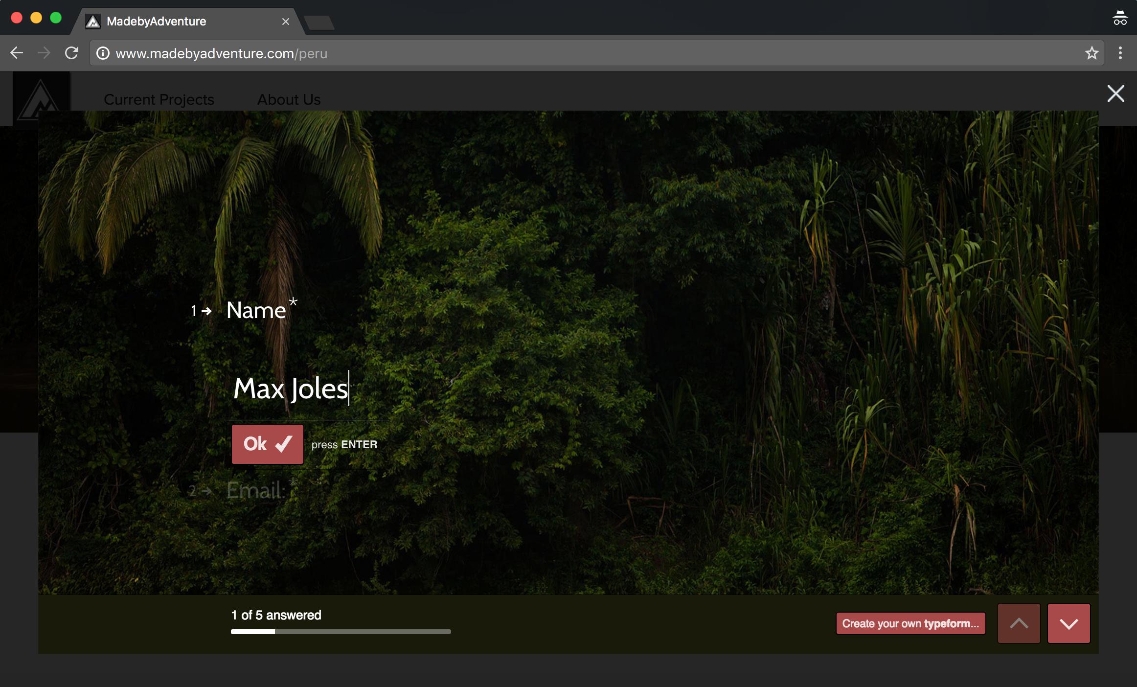 Screenshot fo typeform application for trip to Peru