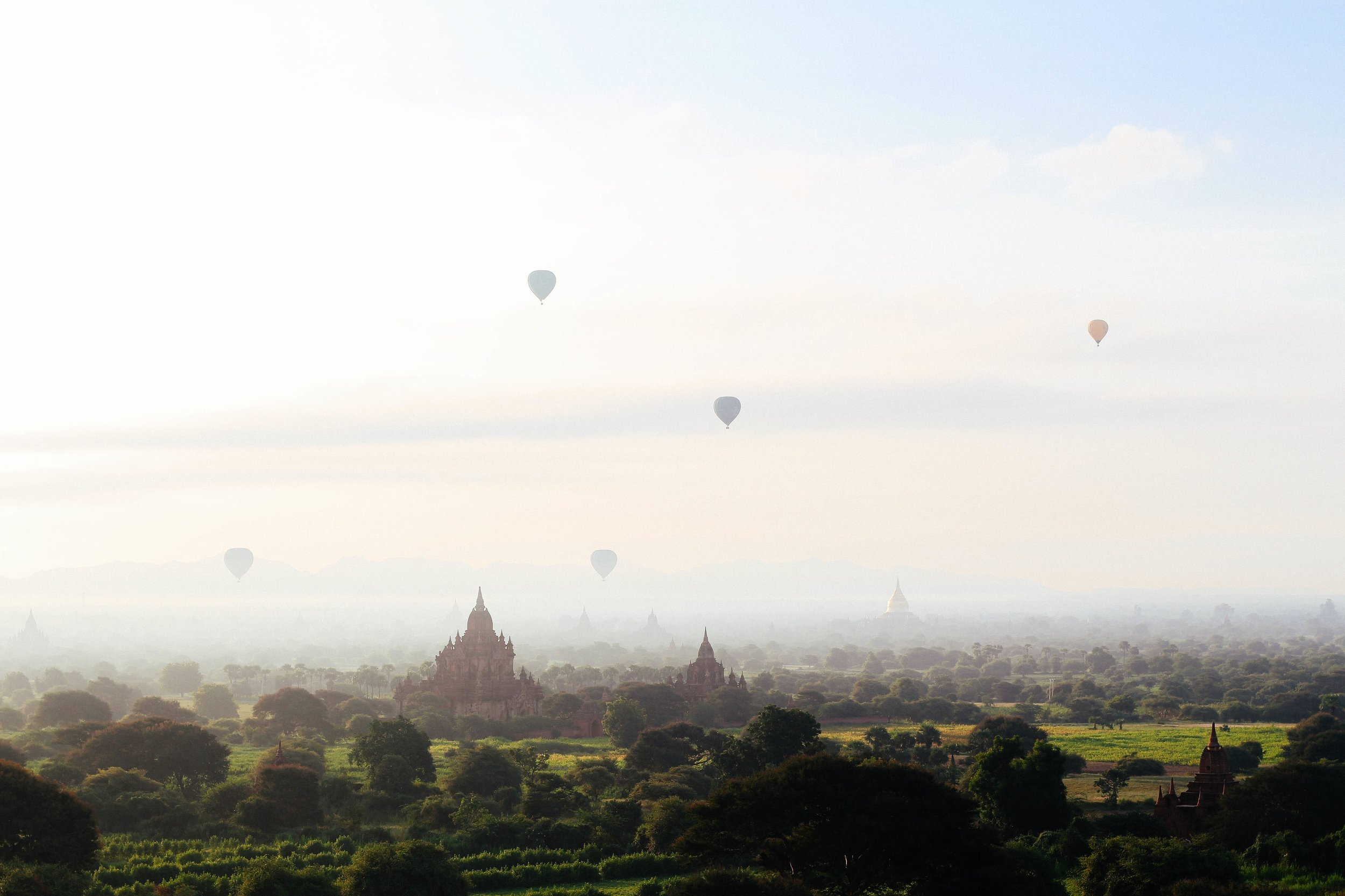 Picture of balloons rising over Bagan, Myanmar