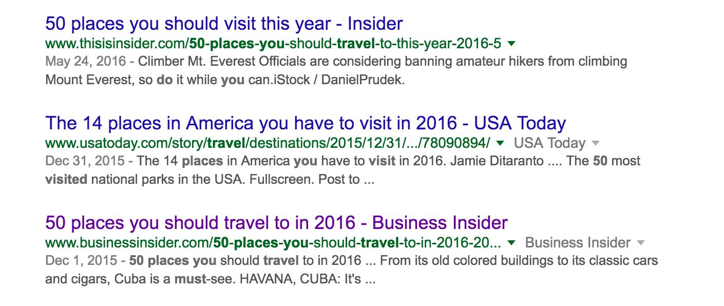 Screenshot of google results