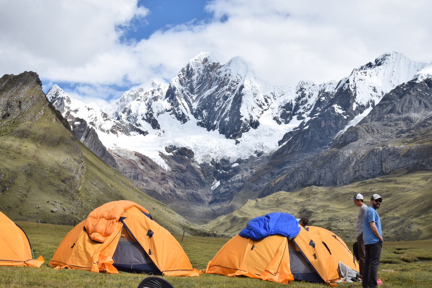 Camping spot in the valley of the Cordillera Huayhuash