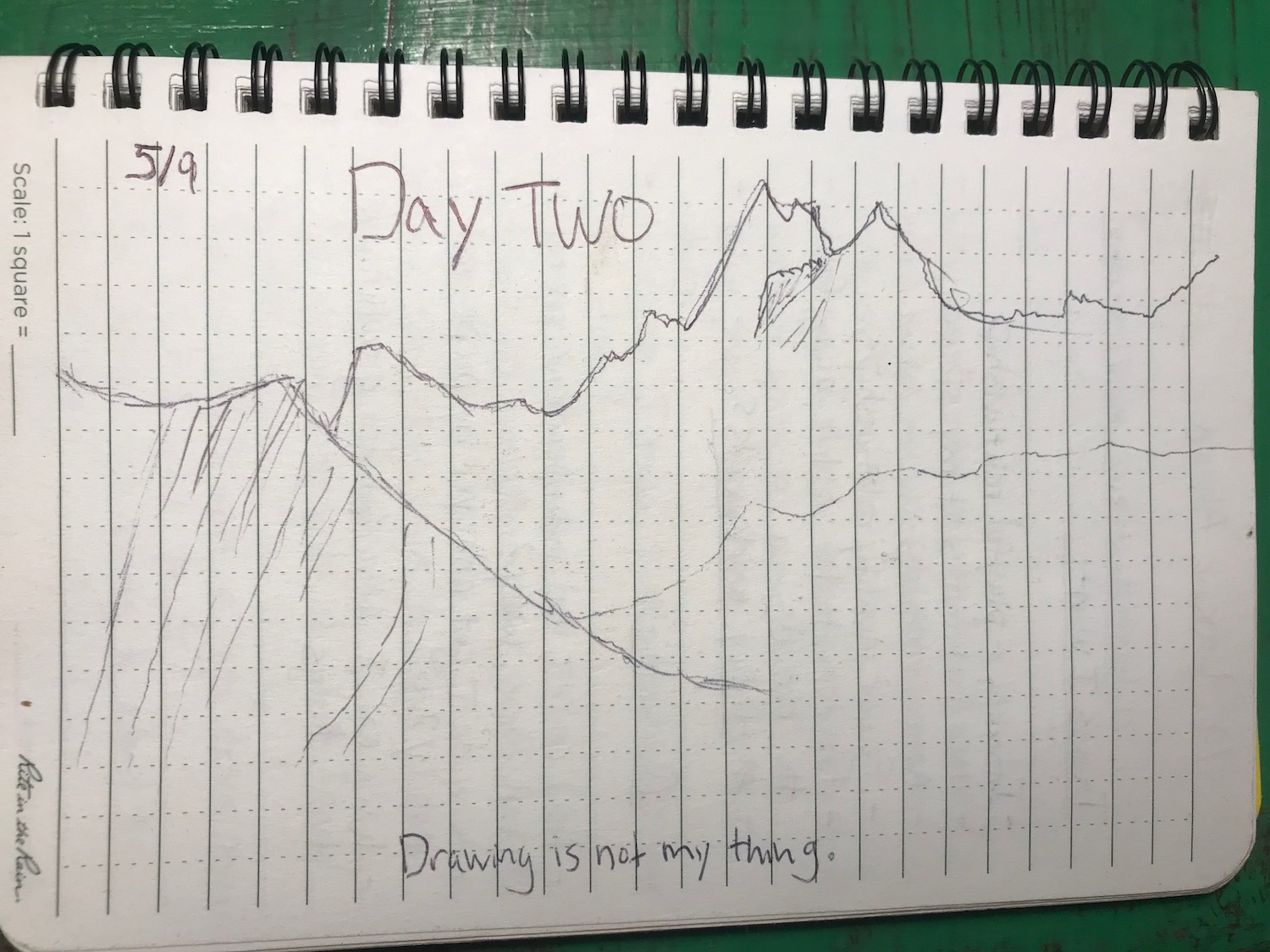 Drawing of mountain in my journal
