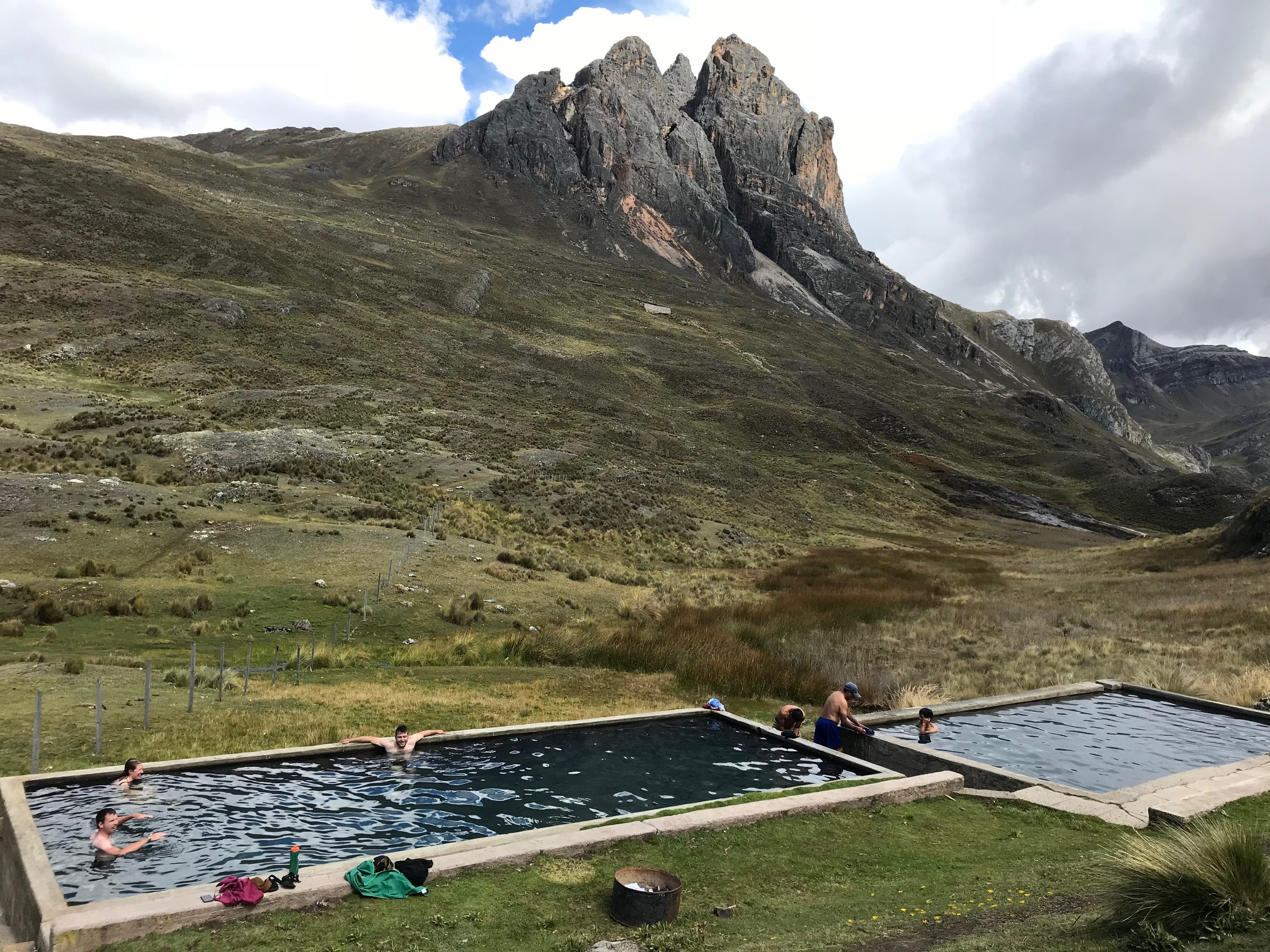 Natural hot springs on the Huayhuash Circuit
