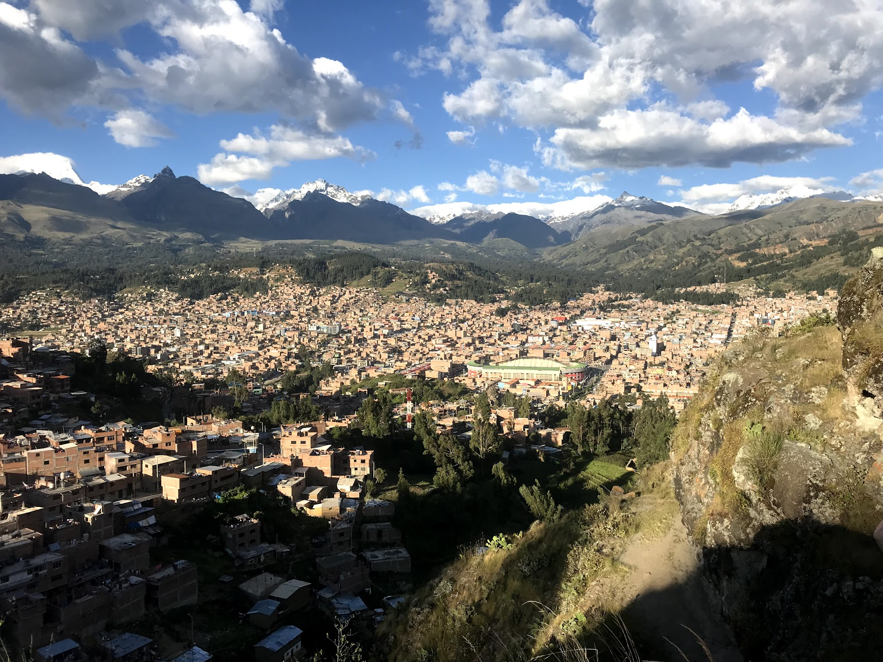View of Huaraz, Peru from an overlook