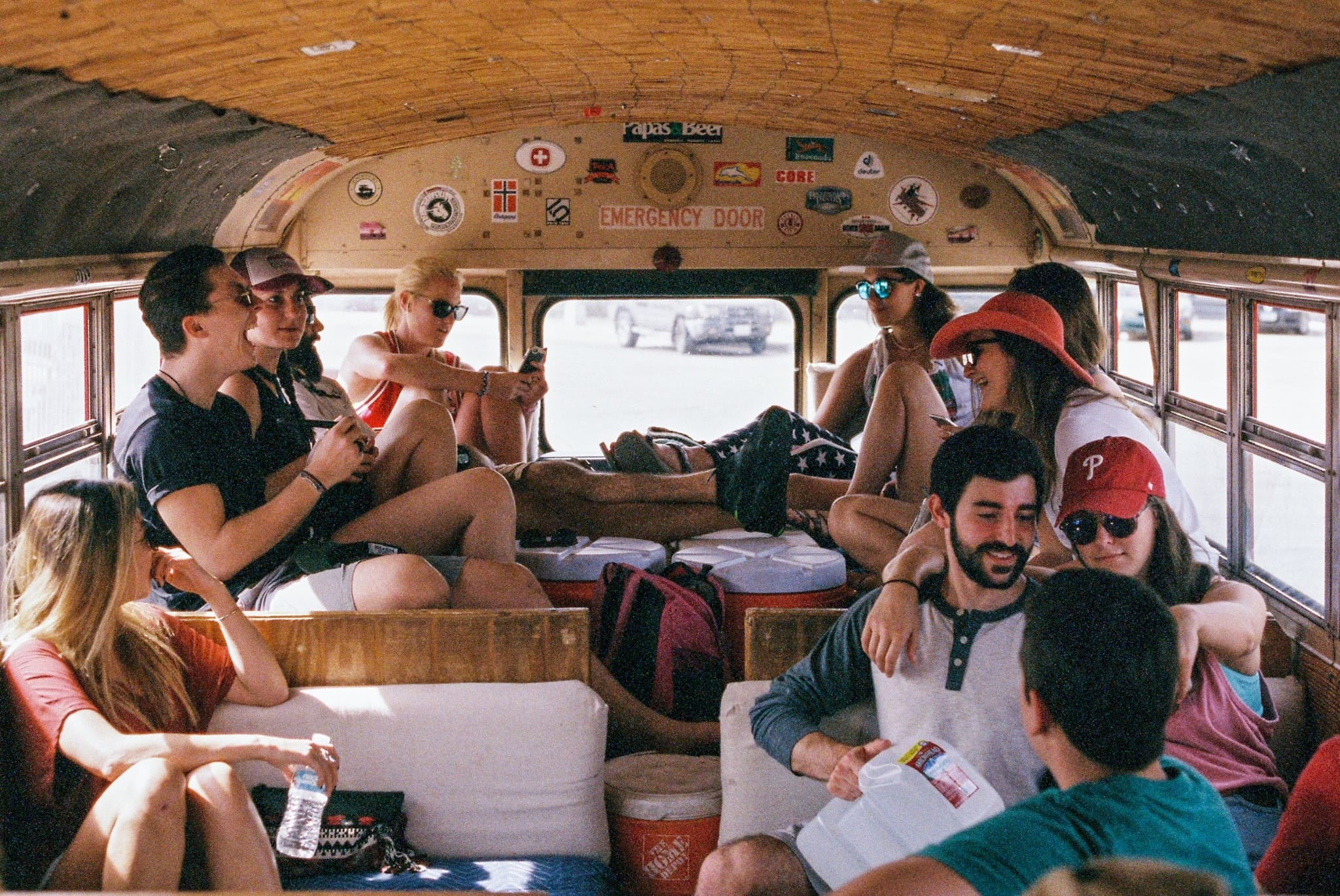 Group photo in Baja Trek school bus for overland adventure