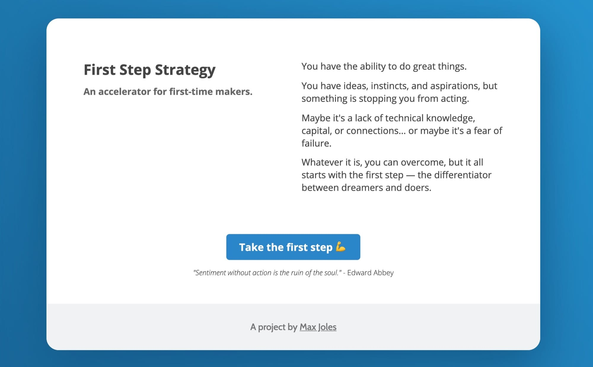 Screenshot of First Step Strategy home page