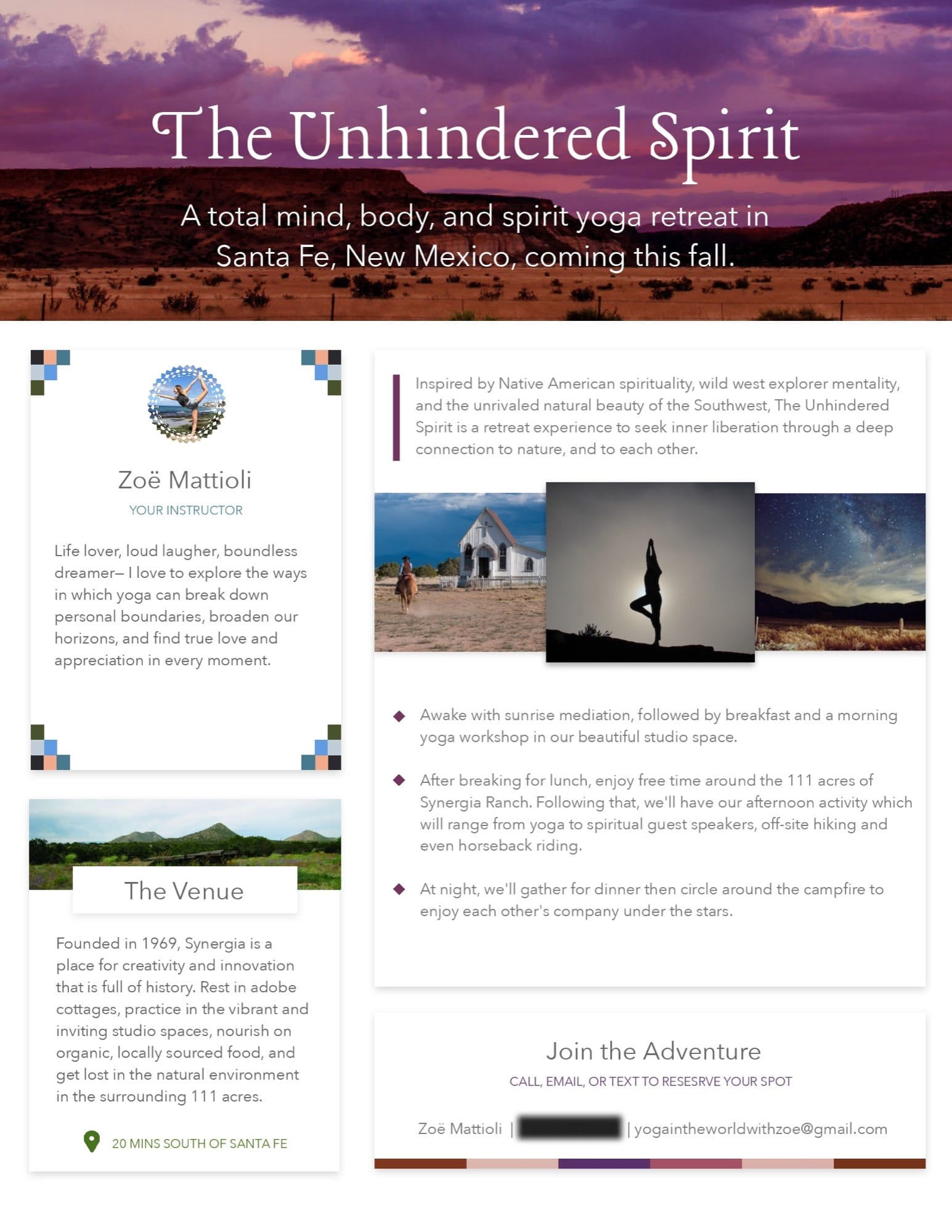 PDF design for yoga retreat in New Mexico