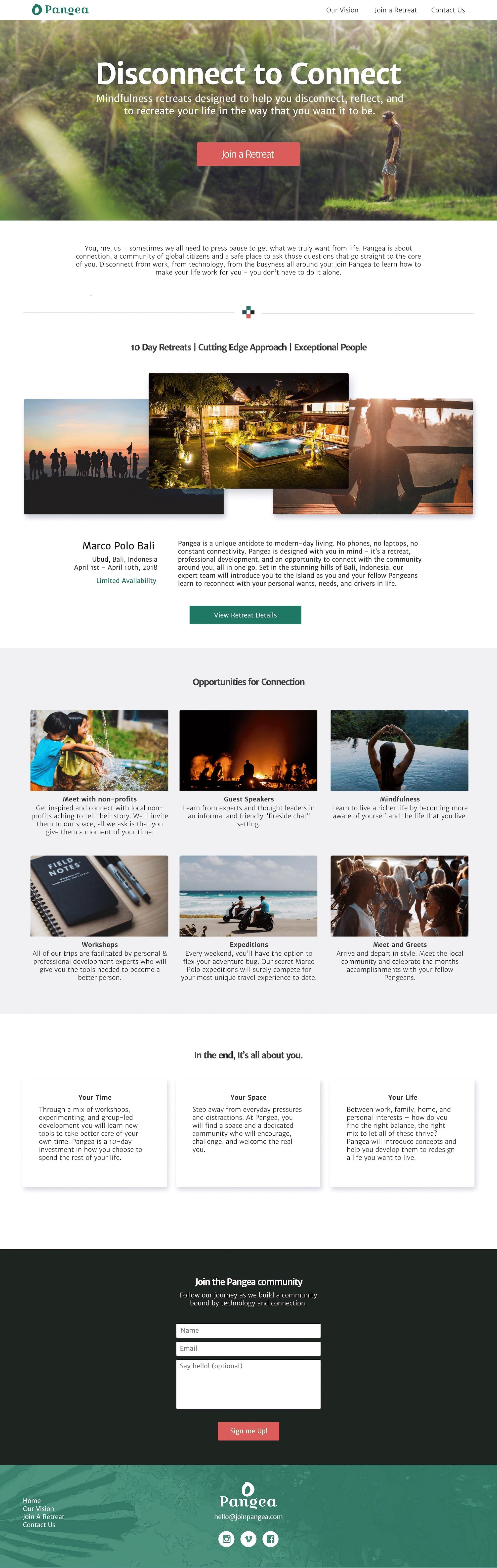 Sample design for pangea retreats website