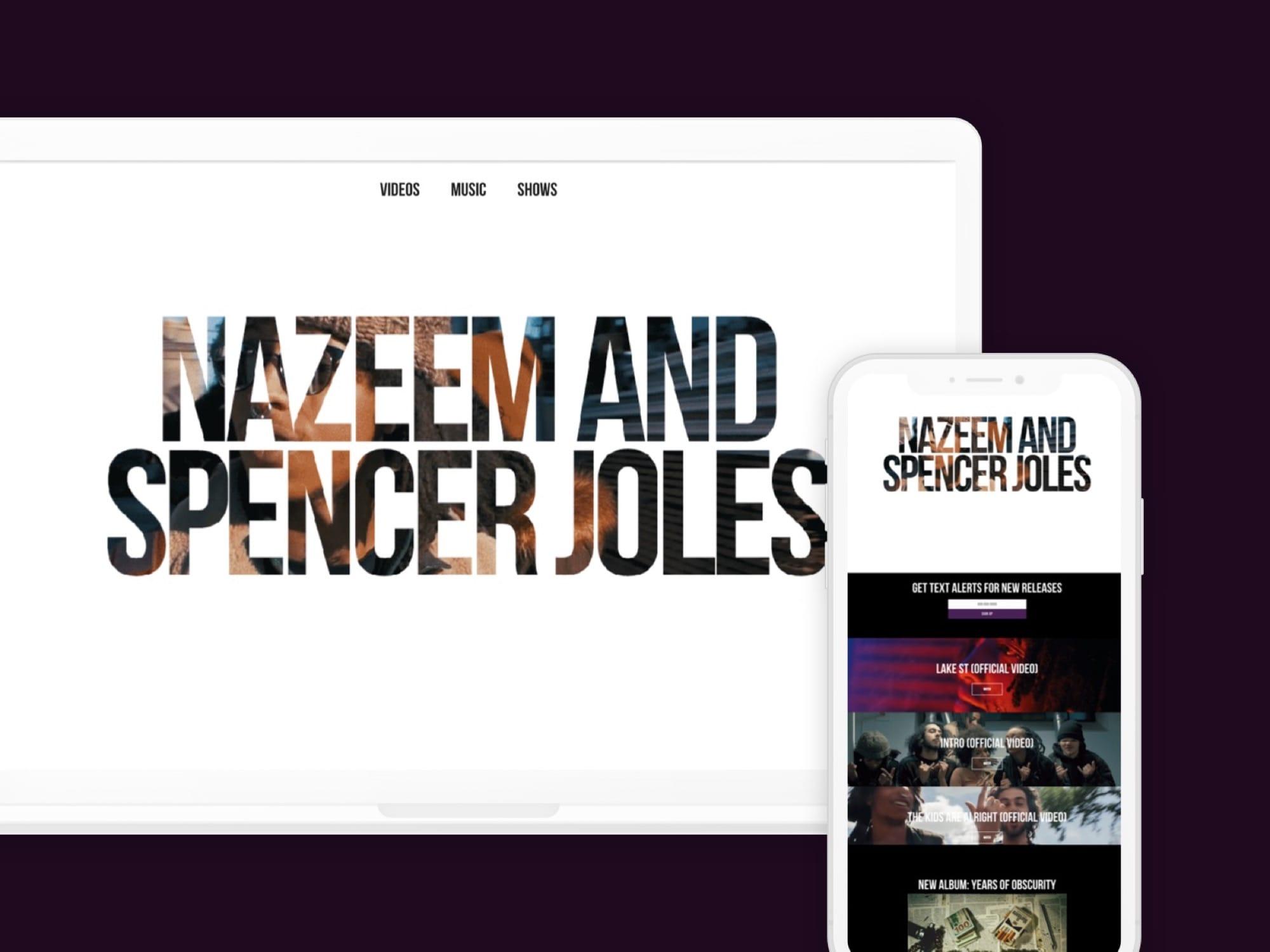 Website screenshot example for Nazeem and Spencer Joles