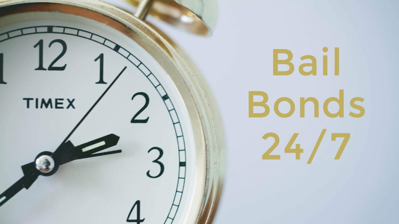 """Close up of a clock """"Bail Bonds twenty four seven"""""""