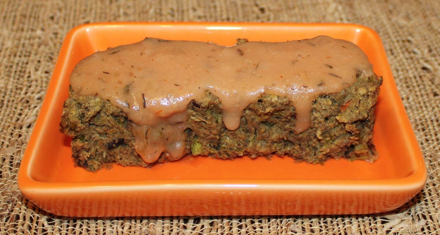 Cooked ground beef topped with gravy