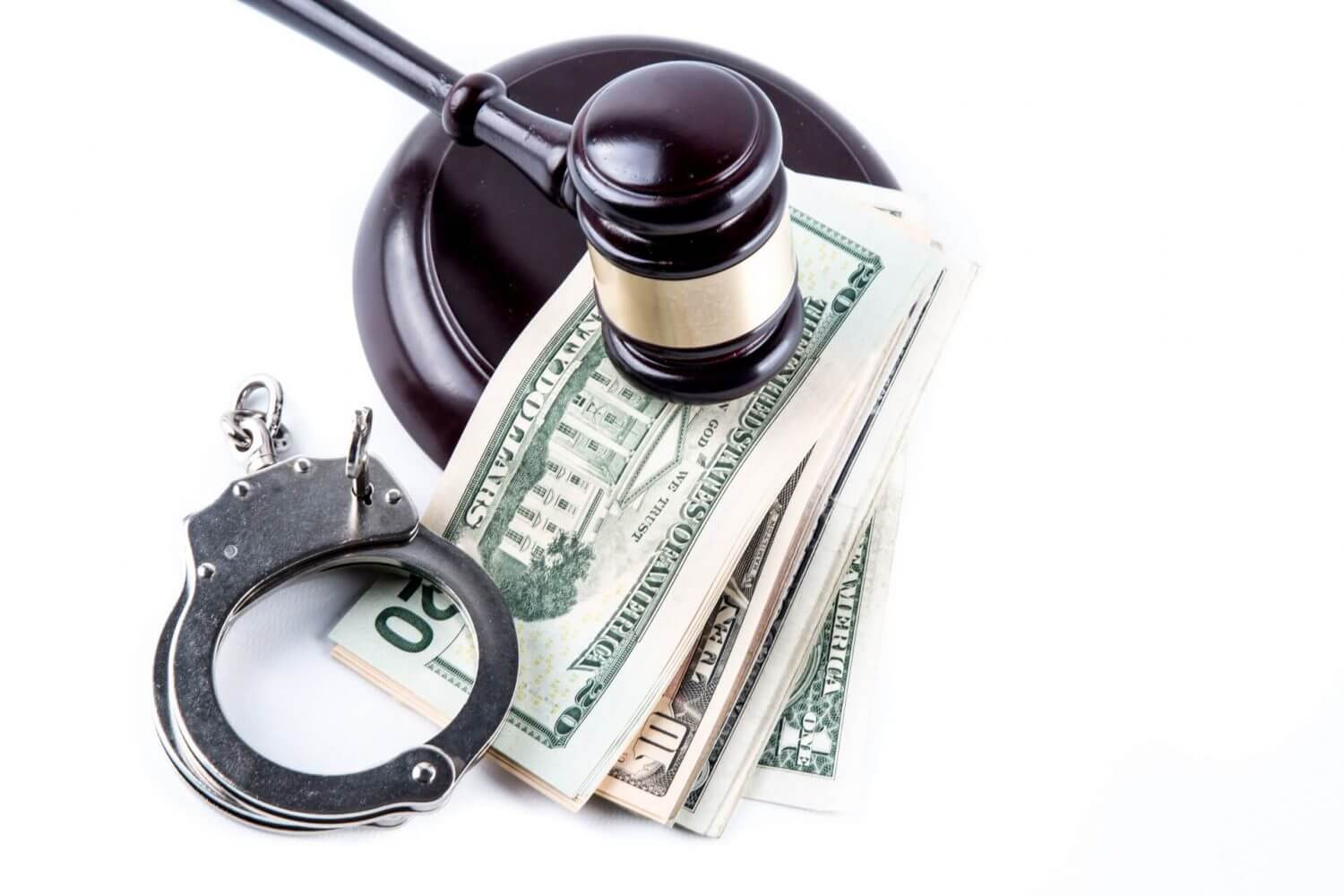 A Gavel, Money and handcuffs