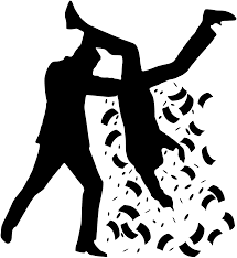 A cartoon of a man stealing money