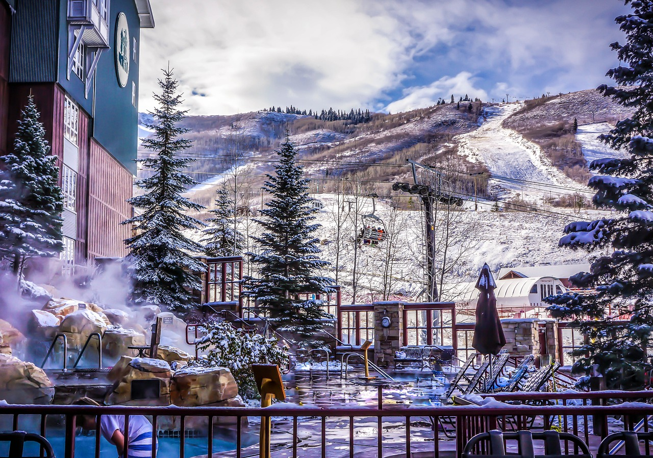 A Ski resort at the bottom of a mountain