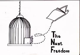 A cartoon of a book flying out of a bird cage.
