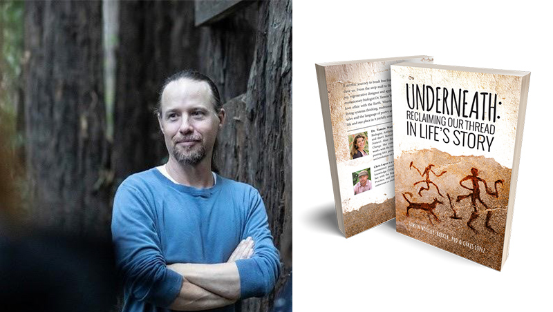 Chris Lopez with the book Underneath: Reclaiming Out Thread in Life's Story