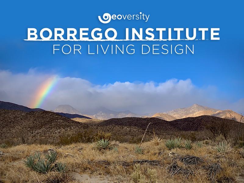 Geoversity Borrego Institute for Living Design logo on top of the Ana-Borrego desert landscape with a rainbow
