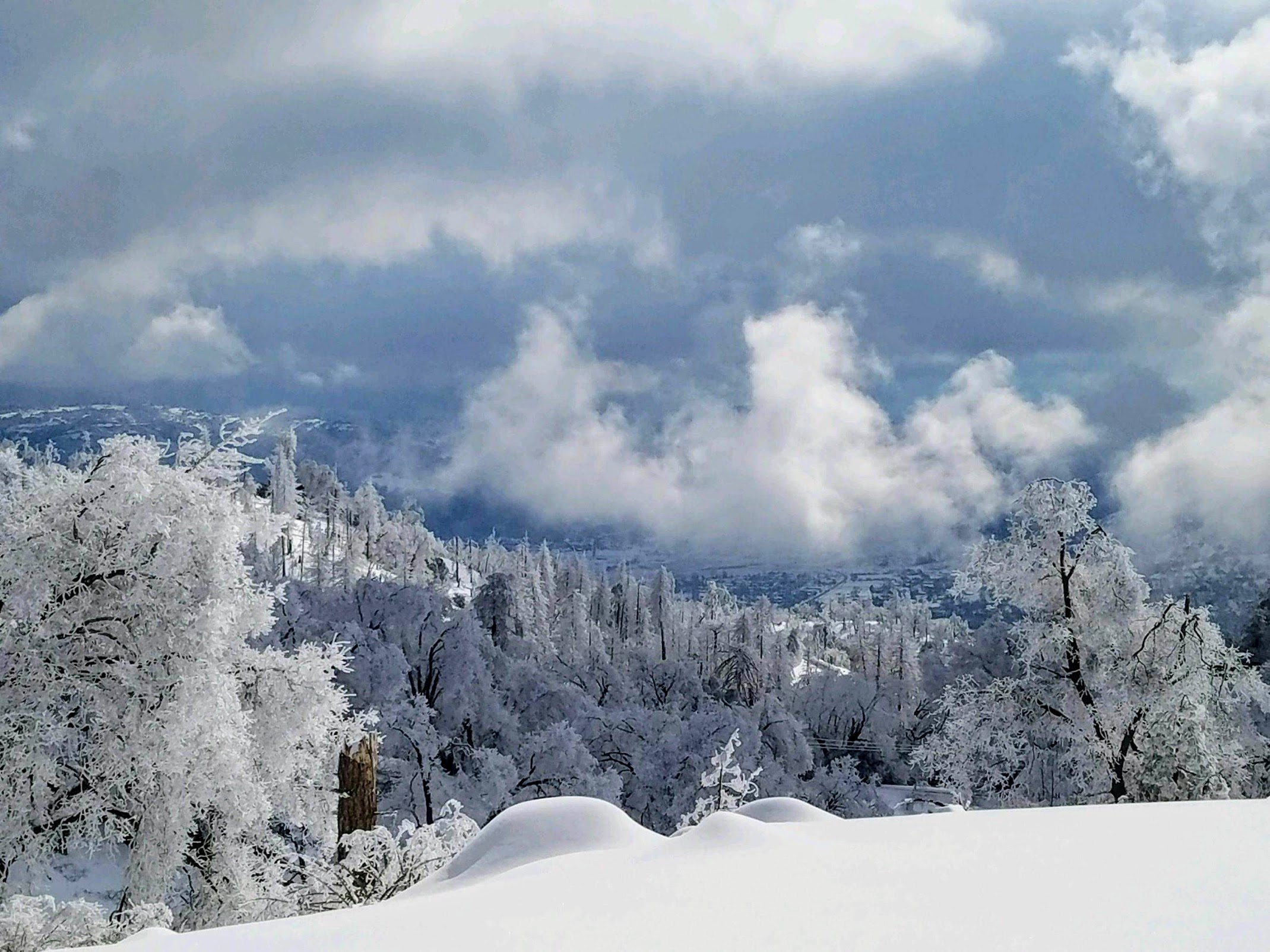 Heavy snow at upper elevations. photo taken by CSD road crew during the winter of 2018-2019