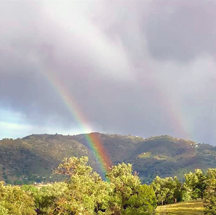A balcony view overlooking a green hillside with cloudy skies and a rainbow in the midground