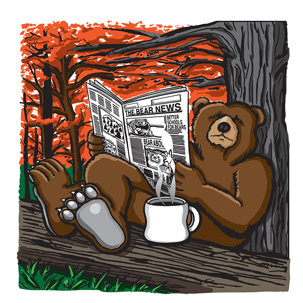 Photo of a Bear reading a newspaper and drinking coffee