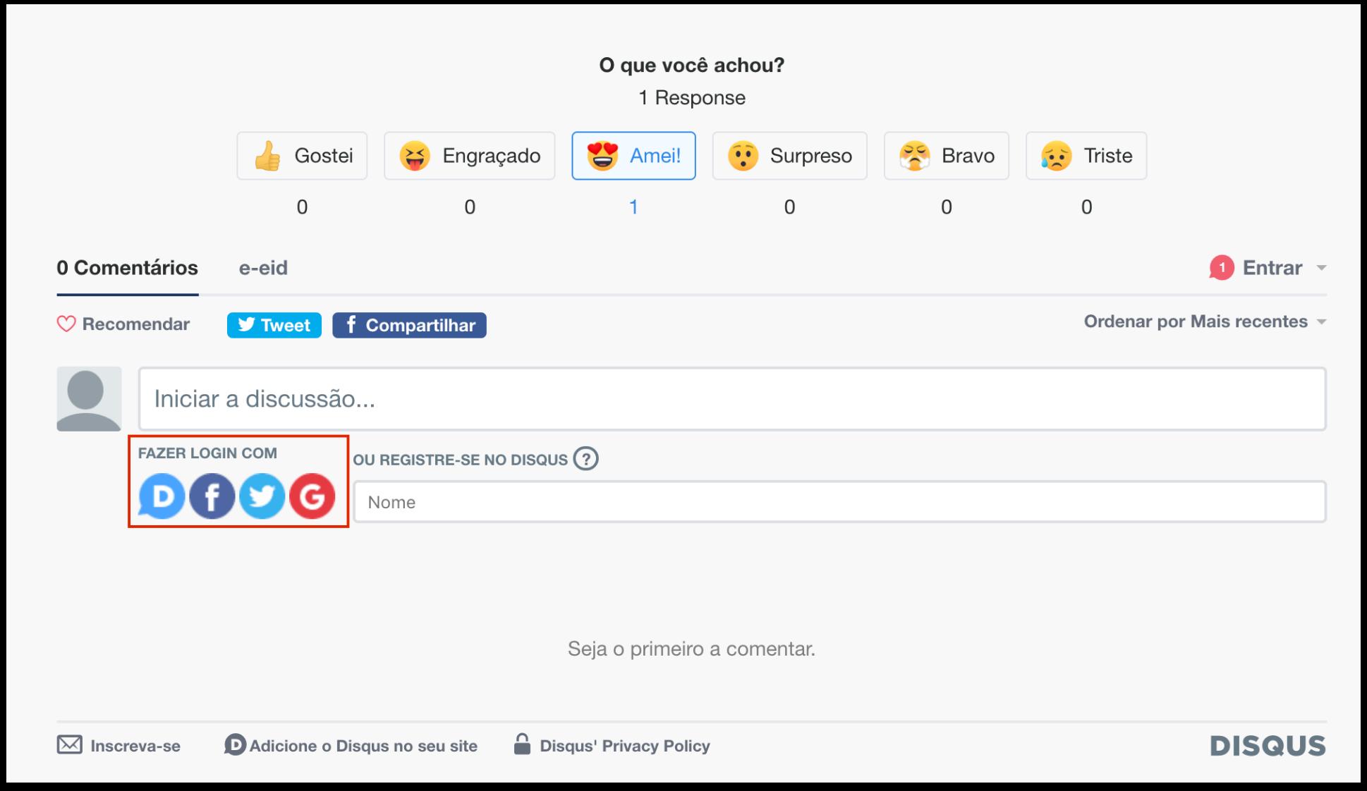 Imagem mostrando a área para fazer login com redes sociais
