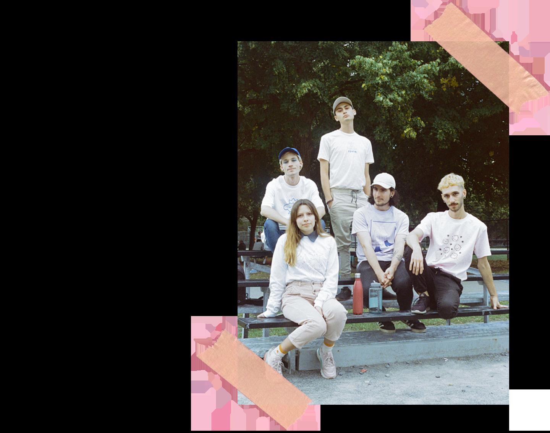 Five models wearing ronron club shirts
