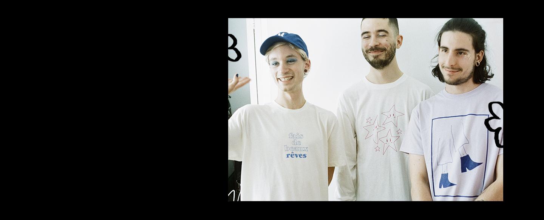 Three guys standing wearing ronron club shirts