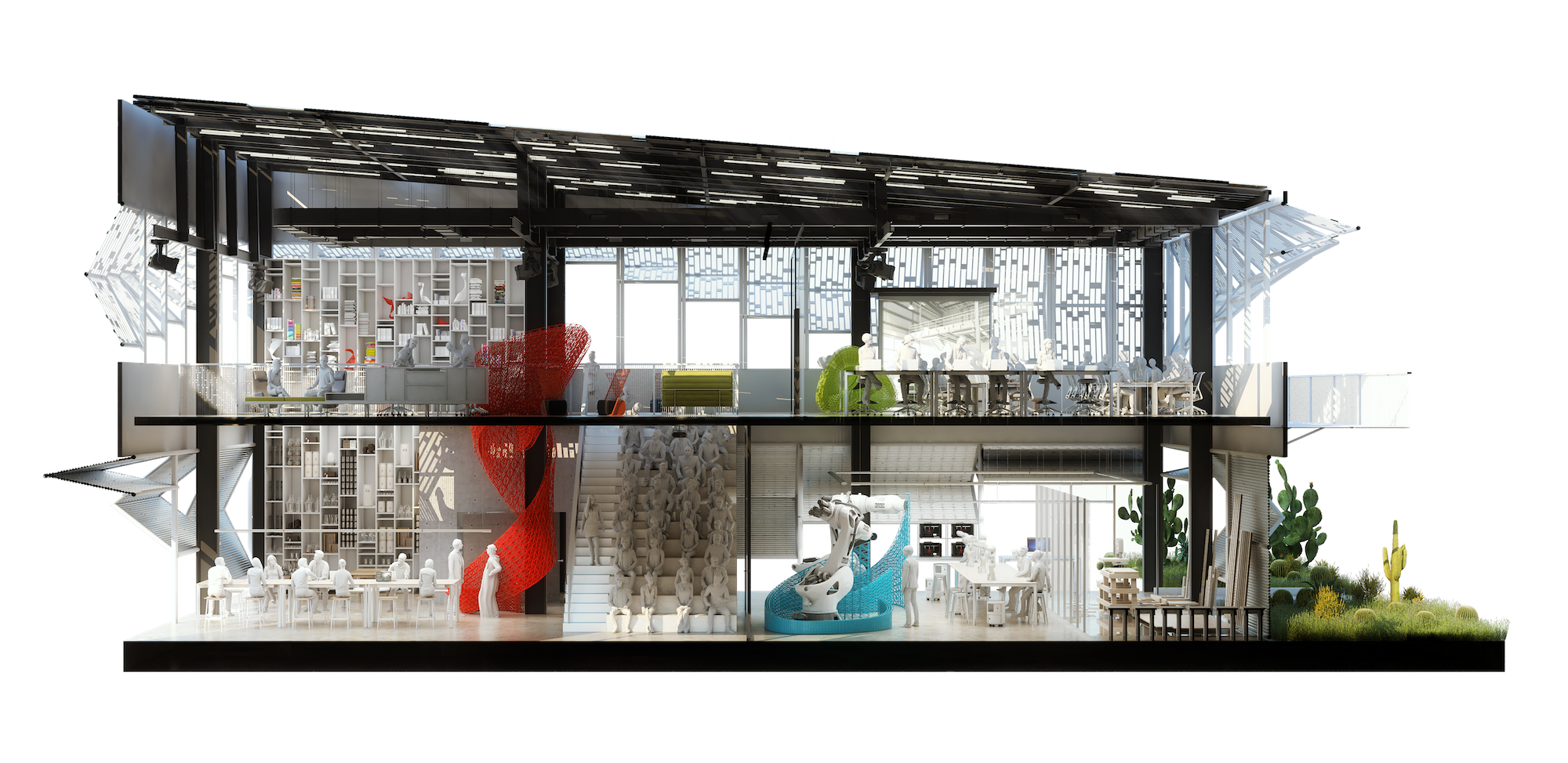 Section Render View Showing MEAL* DESIGN INNOVATION CAMPUS MEAL* Middle East Architecture Lab