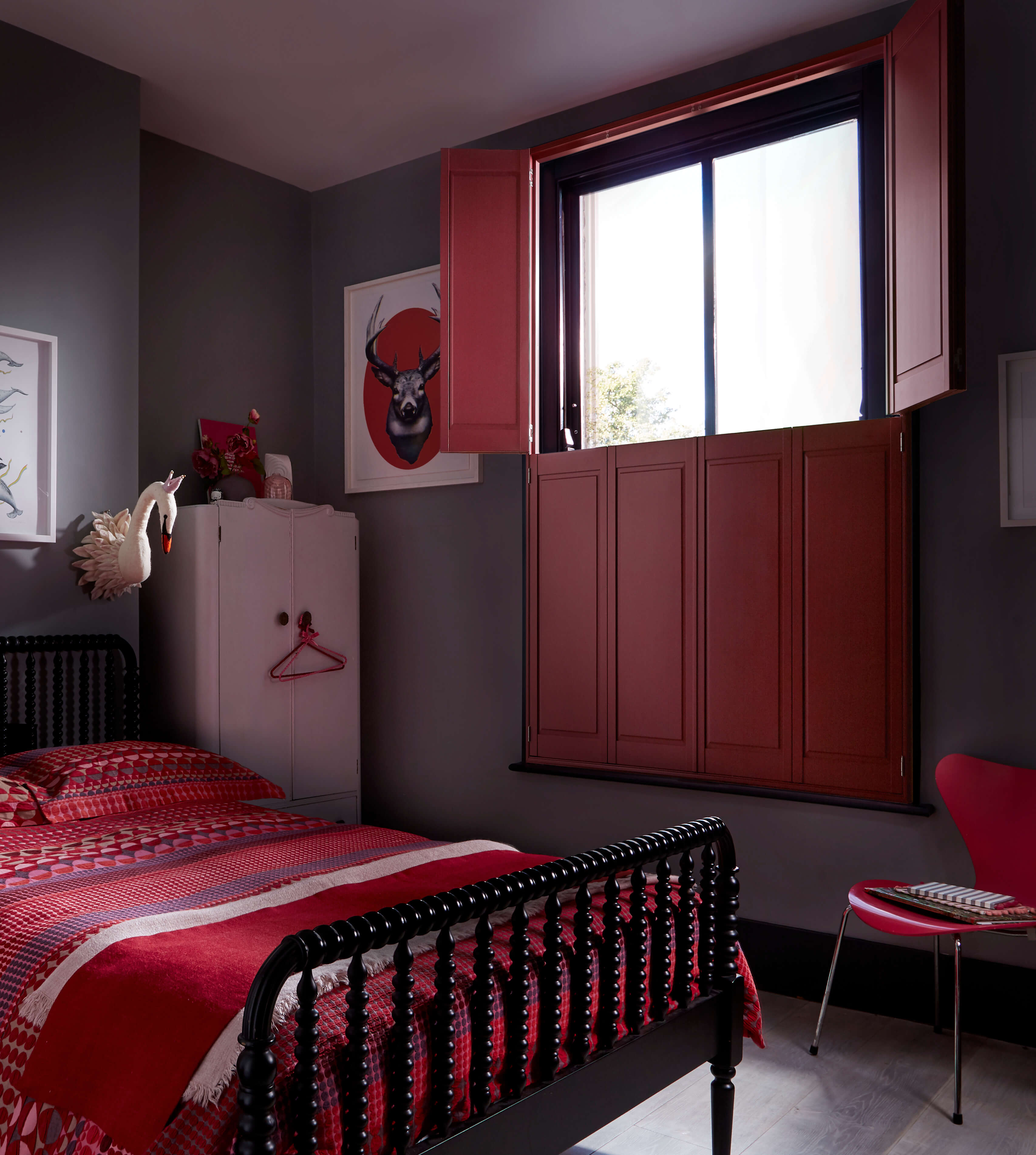 solid wood shutter with customer red colour