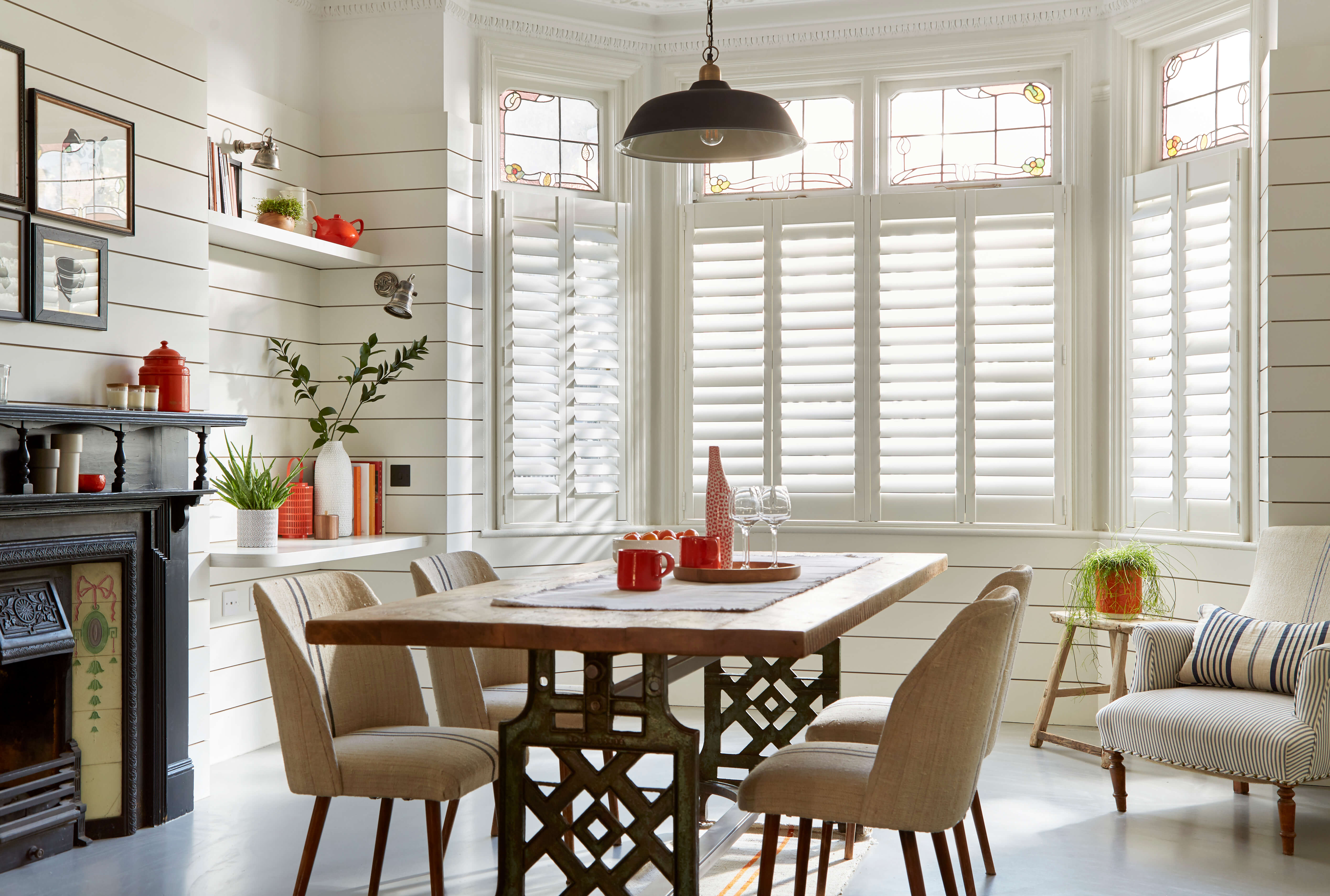 cafe style shutter in traditional victorian home