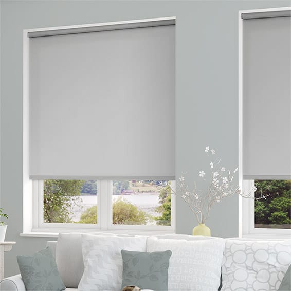 Roller blinds in grey fabric