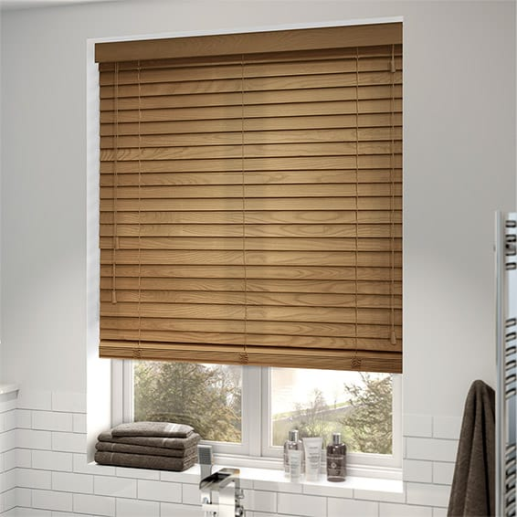 Faux wood blinds fitted in a bathroom