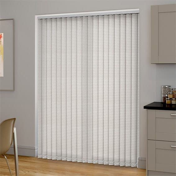 An example of a made to measure vertical blind fitted into patio door recess
