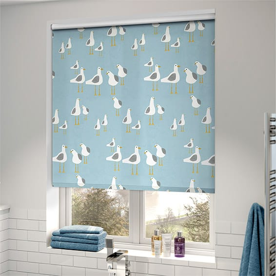 seaside theme print roller blind in bathroom