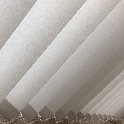 traditional white patterned vertical blind fabric