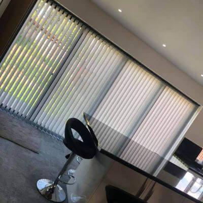 Vertical blind on large bi-fold doors