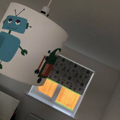 Robot roller blind fabric with matching light shade