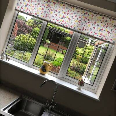 Bright and floral roller blind fabric