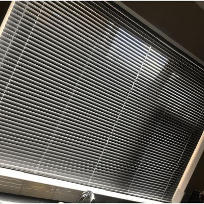 Black metal venetian blind