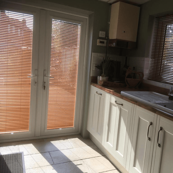 Copper metal venetian blind in perfect fit system