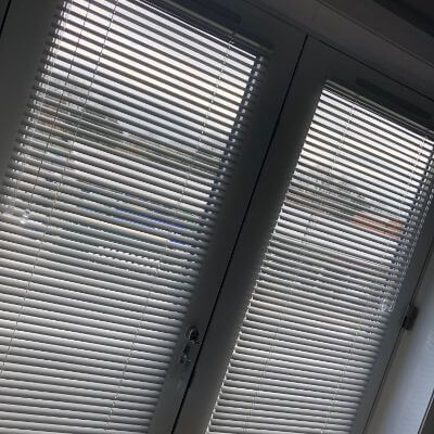 Perfect Fit Venetian blinds fitted on patio doors