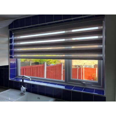 a vision blind fitted into a kitchen