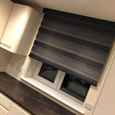 black vision blind fitted with matching valancd