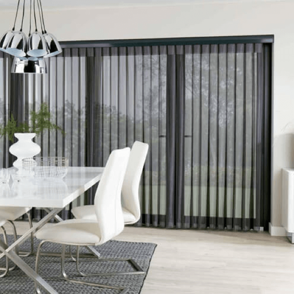Black allusion blind system in dining room setting