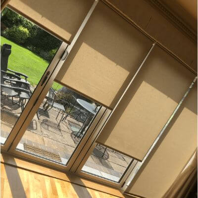 Remote control roller blinds in neutral colour