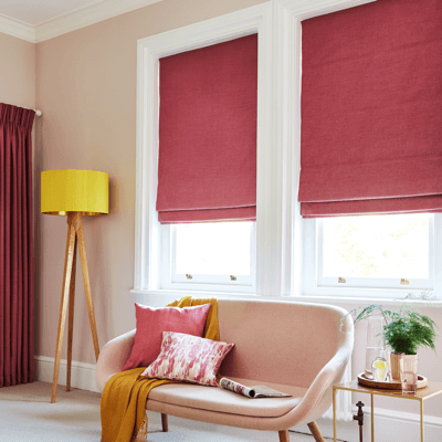raspberry red roman blinds