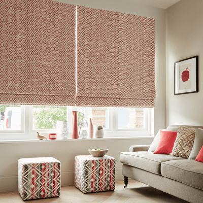 red patterned roman blind fabric
