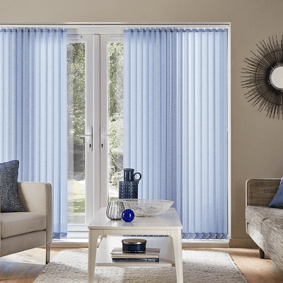 bright blue vertical blinds on patio